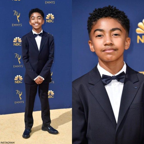 Miles Brown Navy Blue Emporio Armani Suit Emmy Awards 2018