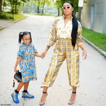 Monica Brown Daughter Laiyah Burberry Girls ERINA Mini Me Graffiti Shirt Dress