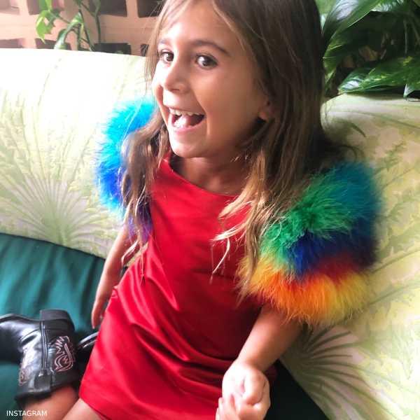 Penelope Disick CHARABIA Red Satin & Feathers Dress LA