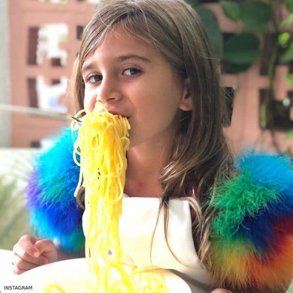 PENELOPE DISICK – CHARABIA RED SATIN FEATHERS DRESS