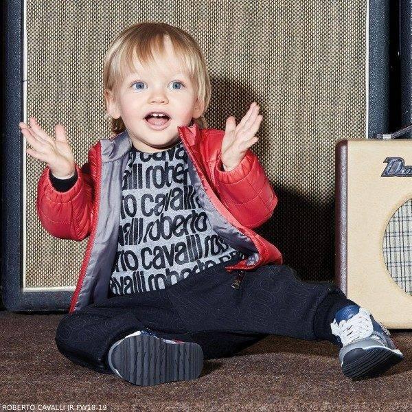 ROBERTO CAVALLI Baby Boys Black Grey Logo Sweatshirt