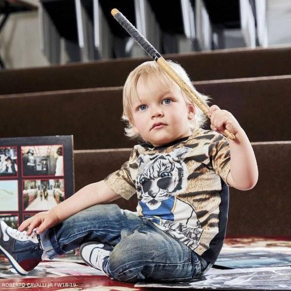 ROBERTO CAVALLI Baby Boys Tiger Print T-Shirt Jeans