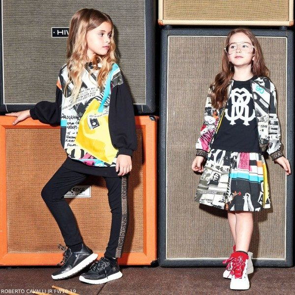 ROBERTO CAVALLI Black Graffiti Print Sweater Dress
