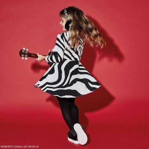 ROBERTO CAVALLI Girls Black & White Zebra Print Dress