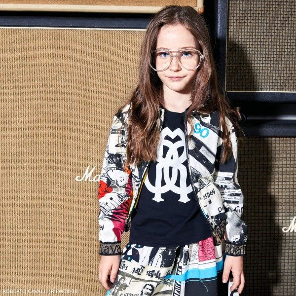 ROBERTO CAVALLI Girls Punk Zip-Up Top Skirt