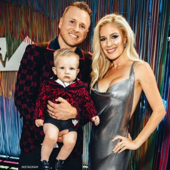 Spencer Pratt and Heidi Montag son Gunner GUCCI Mini Me Blue and Red Logo Gucci Print Baby Suit MTV VMA Awards