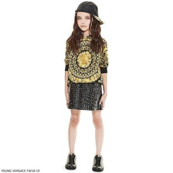 YOUNG VERSACE BAROQUE Gold & Black Hooded Shirt Black Patent Pinafore Dress