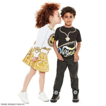YOUNG VERSACE Boys Black MEDUSA T-Shirt Girls White Greek Fret Sweatshirt