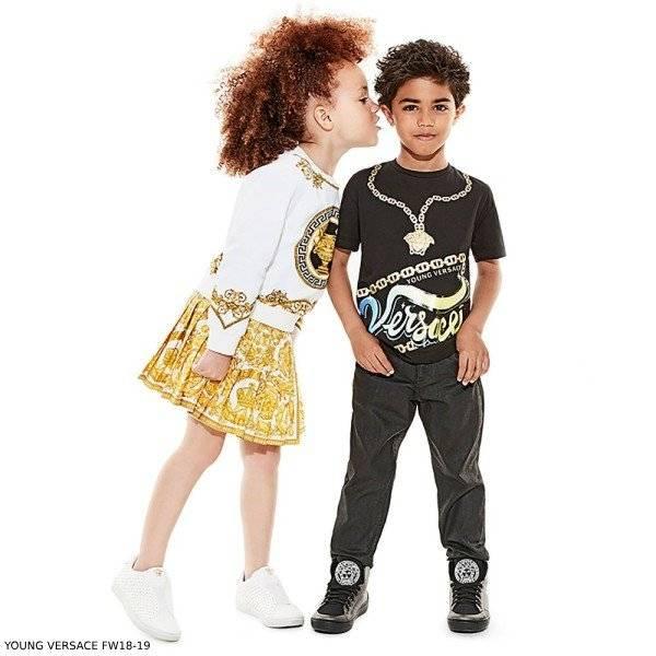 c06f9faa YOUNG VERSACE Boys Black MEDUSA T-Shirt Girls White Greek Fret Sweatshirt