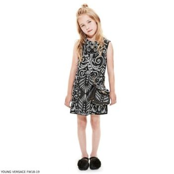 YOUNG VERSACE Girl Black & White BAROQUE Dress