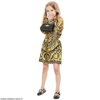 YOUNG VERSACE Girl Gold & Black BAROQUE Silk Dress