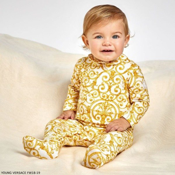 YOUNG VERSACE Gold Baroque Babygrow