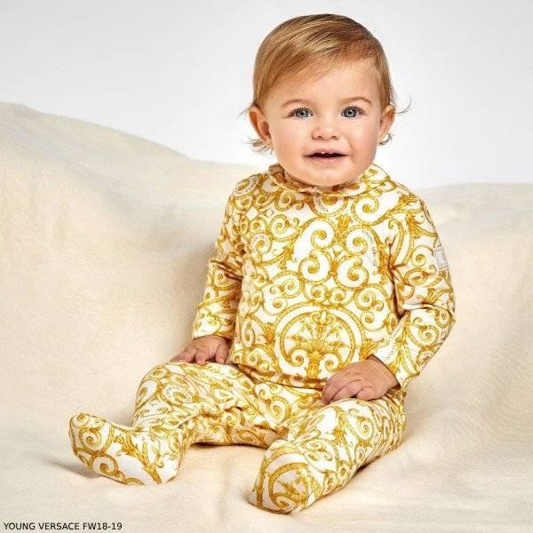 8c2347d18 YOUNG VERSACE Ivory & Gold Baroque Babygrow | Dashin Fashion