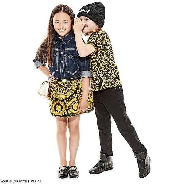 YOUNG VERSACE Gold & Black BAROQUE Polo Shirt