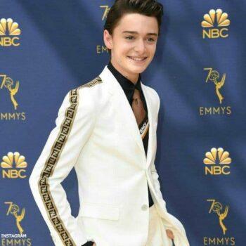 14 year old actor Noah Schnapp Fendi White Suit 2018 Emmy Awards