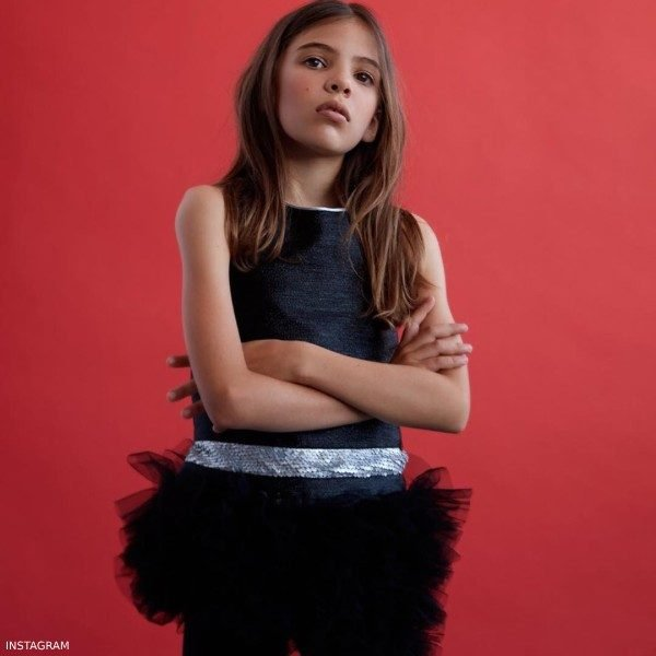 Actress Lola Sultan VALMAX Girls Black Tulle Dress