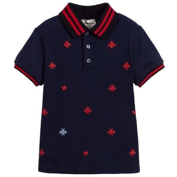 Gucci Boys Blue Bees Logo Cotton Polo Shirt