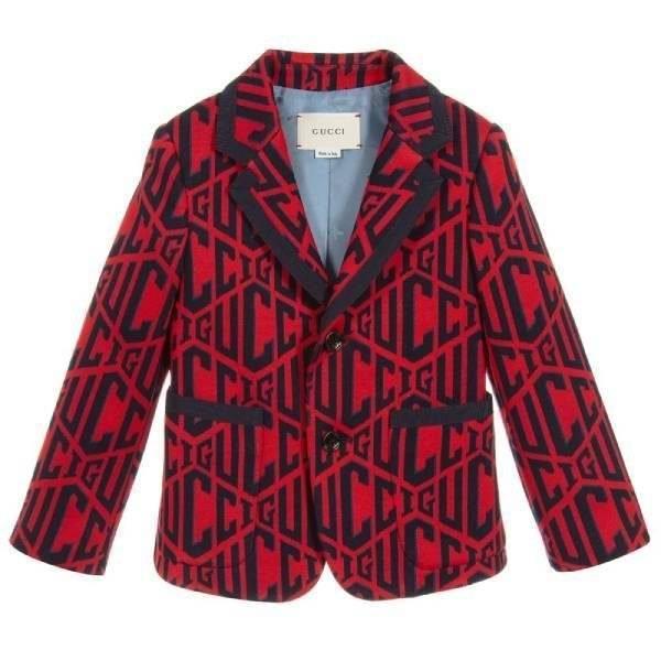 Gucci Boys Red & Blue Logo Cotton Blazer