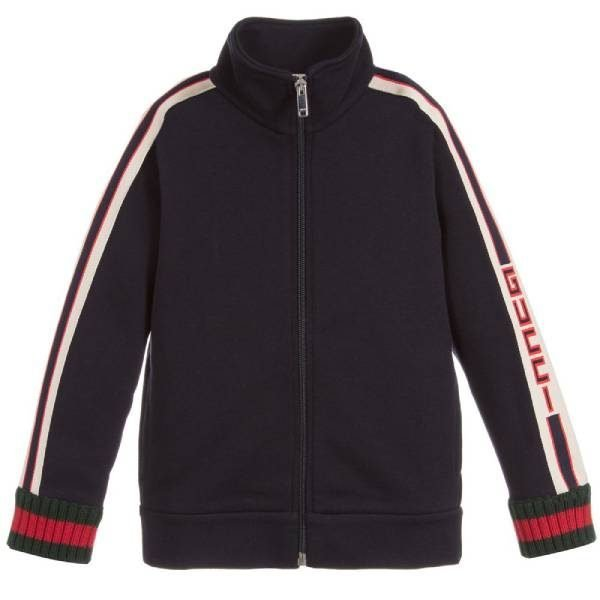 Gucci Kids Navy Blue Cotton Zip-Up Sweatshirt