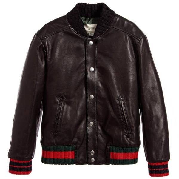 Gucci Kids Unisex Black Leather Jacket