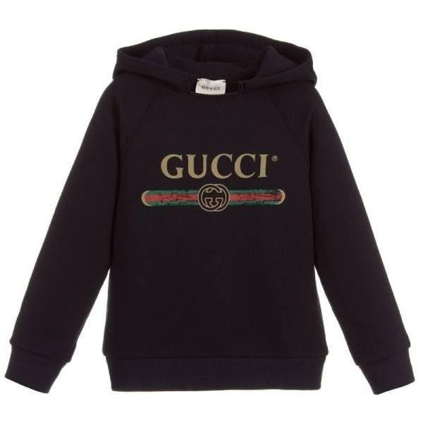 Gucci Kids Unisex Blue Cotton Logo Sweatshirt