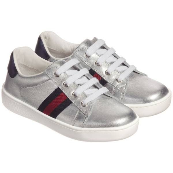 Gucci Kids Unisex Silver Leather Trainers