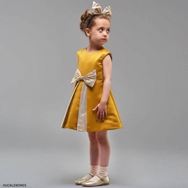 HUCKLEBONES LONDON Girls Gold Satin Dress (1)