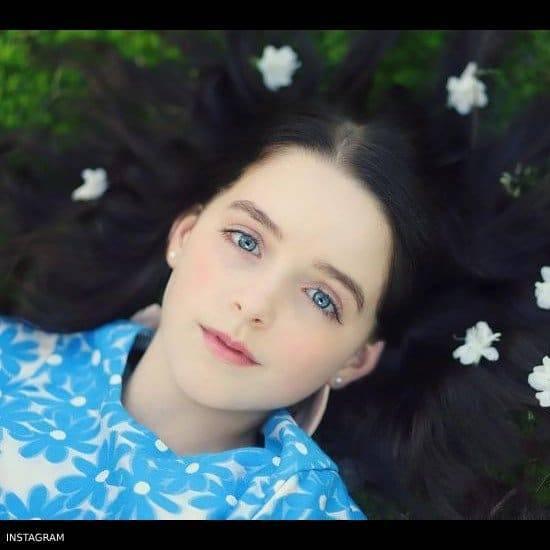McKenna Grace HUCKLEBONES LONDON Blue Floral Brocade Dress