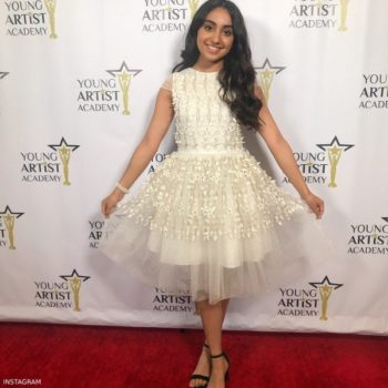 saara chaudry young artist academy DAVID CHARLES Girls Ivory Floral AppliquE Tulle Dress