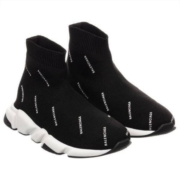 Balenciaga Unisex Black Sock Trainers White Logo