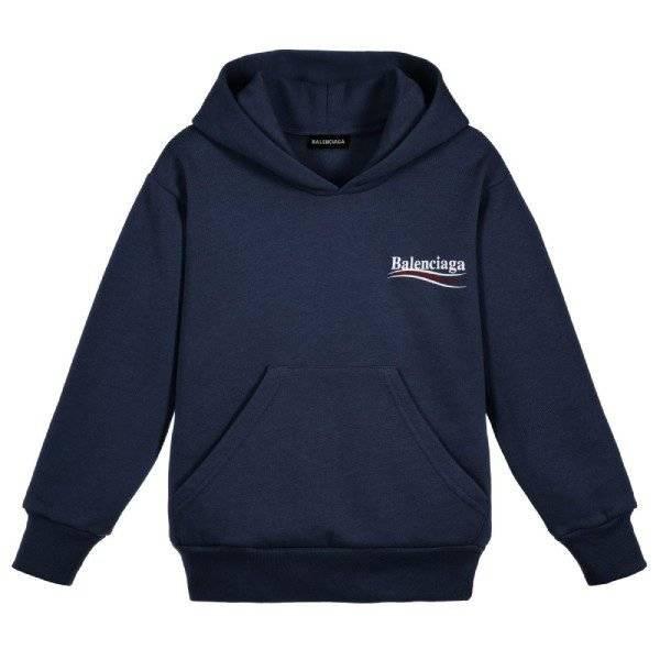 Balenciaga Unisex Blue Logo Hooded Sweatshirt