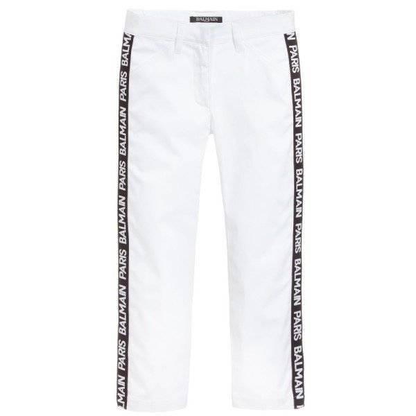 Balmain White Cotton Logo Trousers