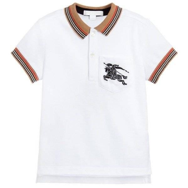 Burberry Boys White Cotton Polo Shirt