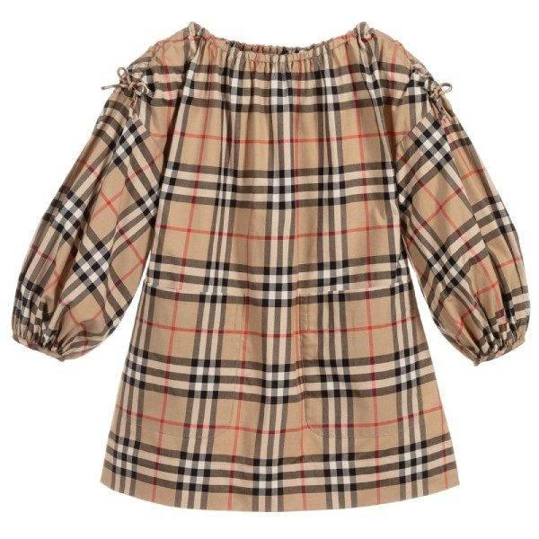 Burberry Girls Beige Check Print Dress