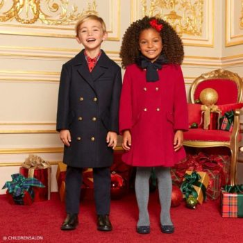 Burberry Navy Blue CHRISTINE Wool Coat Dolce Petit Girls Red Coat