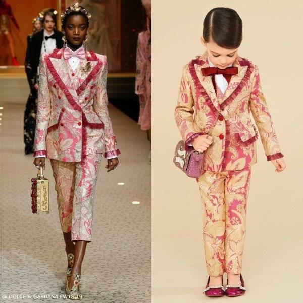 Dolce & Gabbana Girls Pink & Gold Mini Me Runway Blazer Pants
