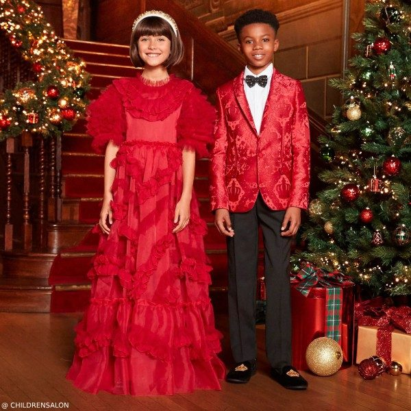 Dolce & Gabbana Girl Red Silk Organza Dress Boys Red Jacquard Blazer