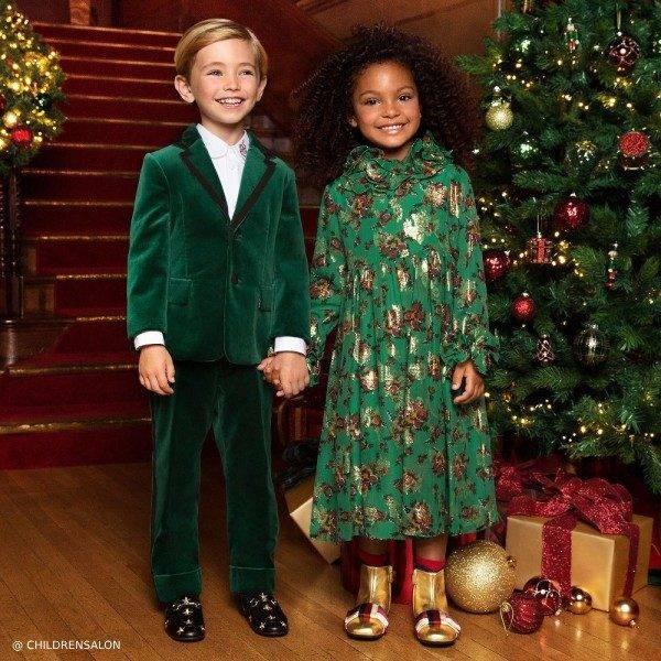 Gucci Boys Green Velvet Suit Gucci Green Silk Dress