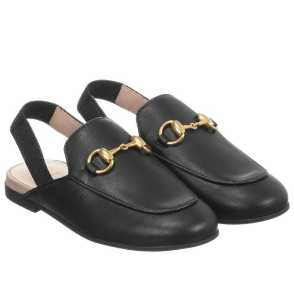 Gucci Girl Leather Sling-Back Loafers