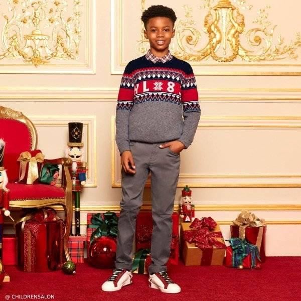 Hackett London Boys Grey Wool Holiday Sweater
