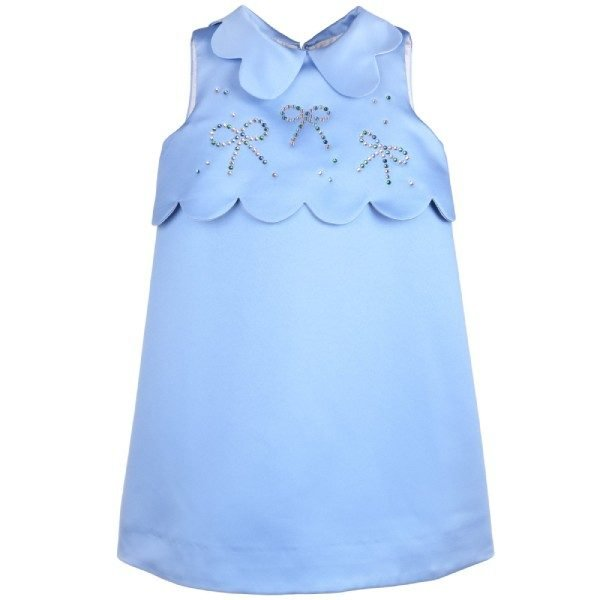 Hucklebones Cornflower Blue Swarovski Scalloped Dress