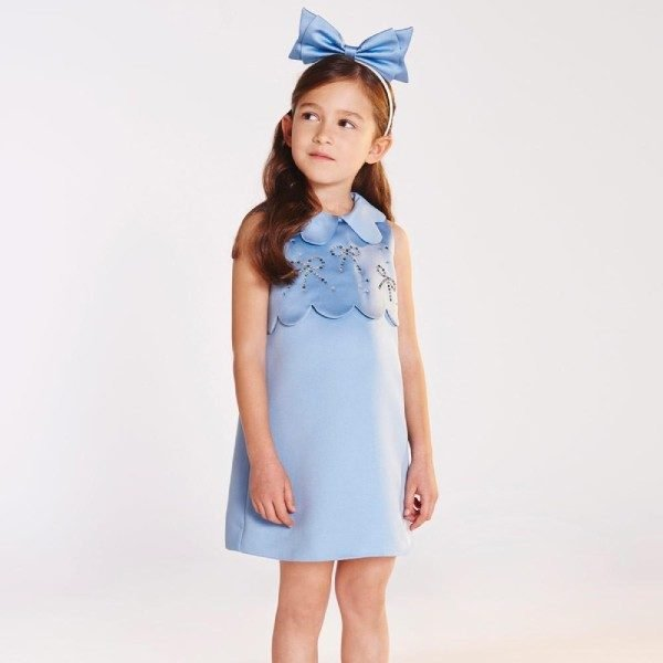 Hucklebones Cornflower Blue Swarovski Scalloped Shift Dress