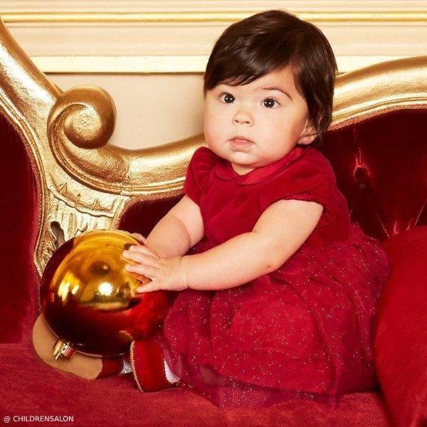 Il Gufo Baby Girl Red Cotton Velvet & Tulle Dress