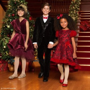Junona Burgundy Velvet Dress & Romano Boys Black Velvet Suit