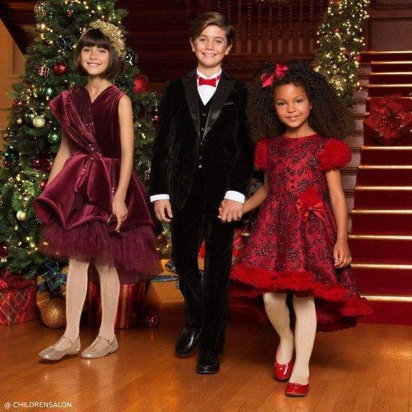 Junona Burgundy Velvet Dress & Romano Boys Black Velvet Suit
