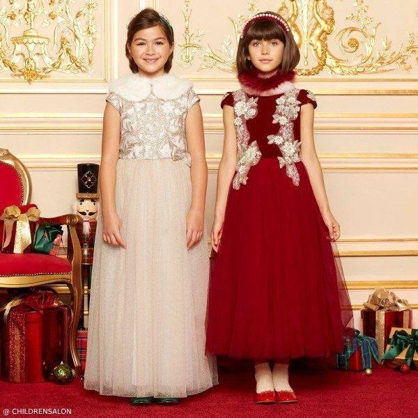 Le Mu Girls Red Velvet & Tamarine Gold Lace & Tulle Dress