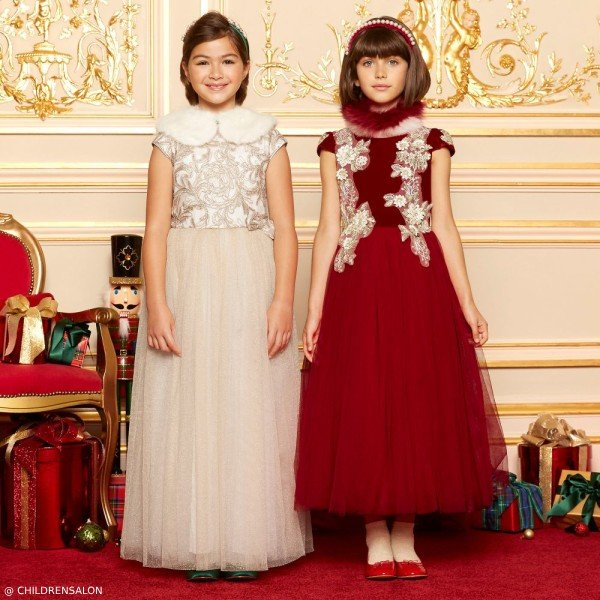LE MU GIRLS RED VELVET & TAMARINE GOLD LACE & TULLE DRESS