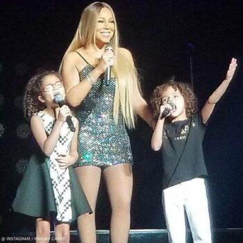 Mariah Carey Twins Monroe Morocco Shanghai Concert Black Balmain Mini Me Tshirt