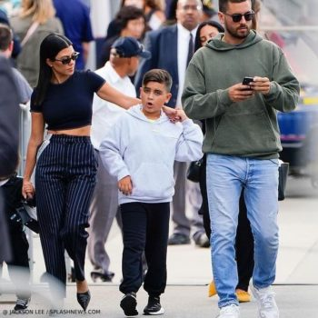 Mason Disick Balenciaga Kids Grey Logo Hooded Sweatshirt