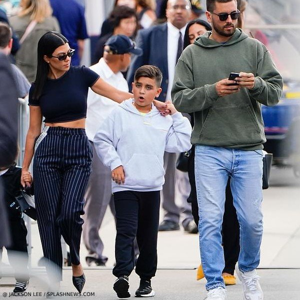 Mason Disick - Balenciaga Kids Grey Logo Hooded Sweatshirt